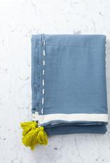 "Livissi Turkish Cotton Blanket Bedspread - Azure Blue  - 95 x 102"""
