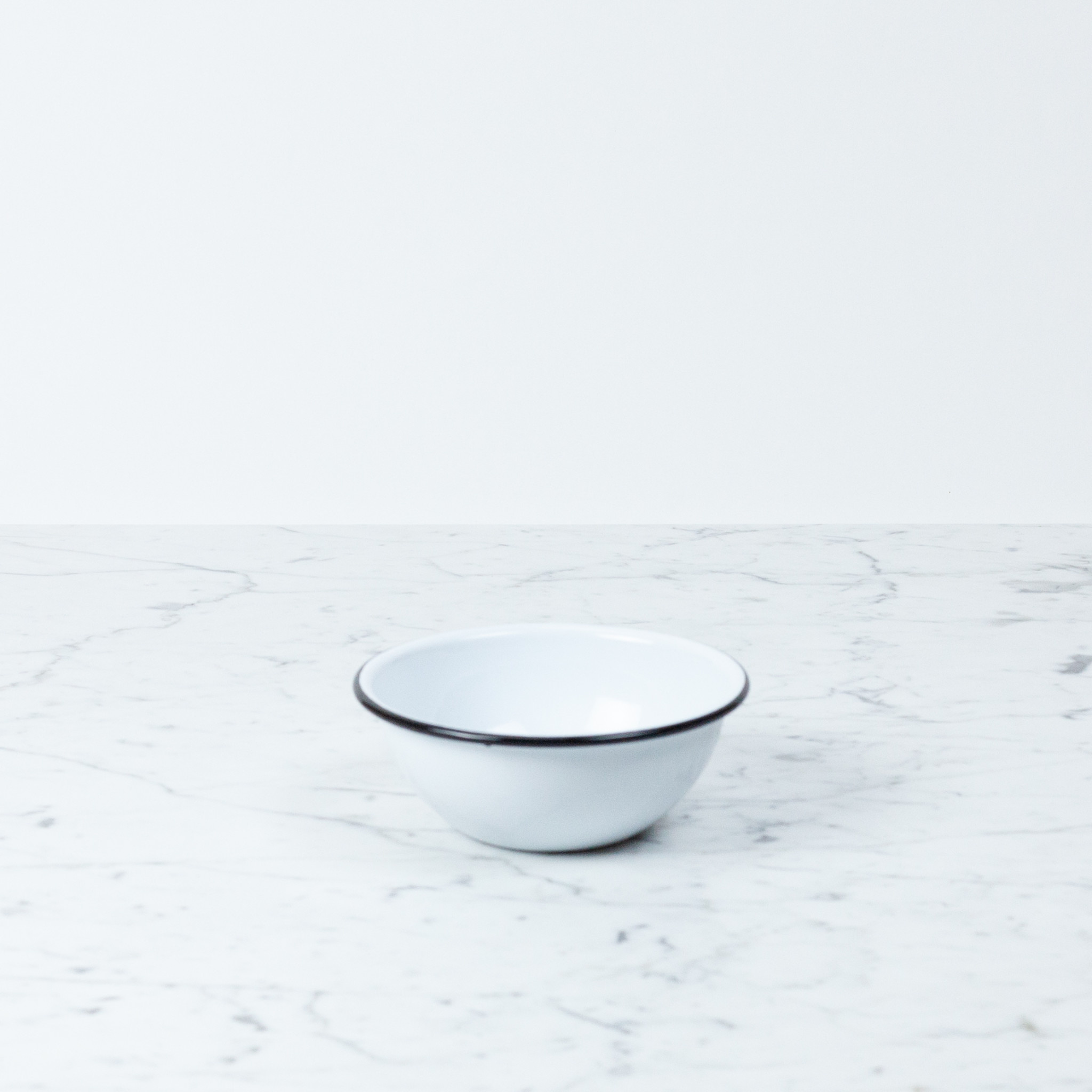 """Black + White Enamel Cereal Bowl - 6.25"""""""