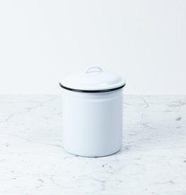 Black + White Enamel Storage Canister - 8""