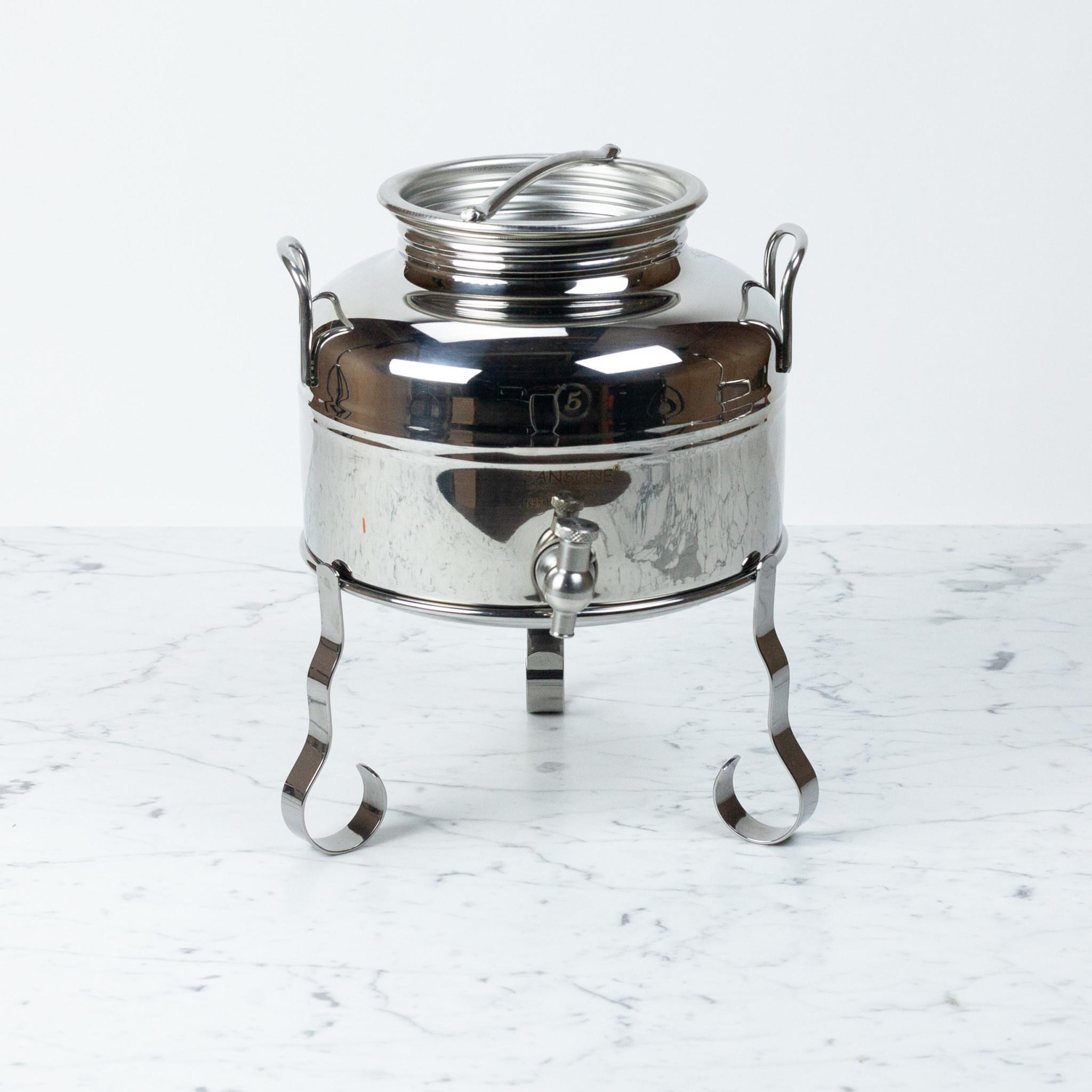 M5 Corporation Small Italian Stainless Steel Sansone Fusti Dispenser with Stand - 5 Liter