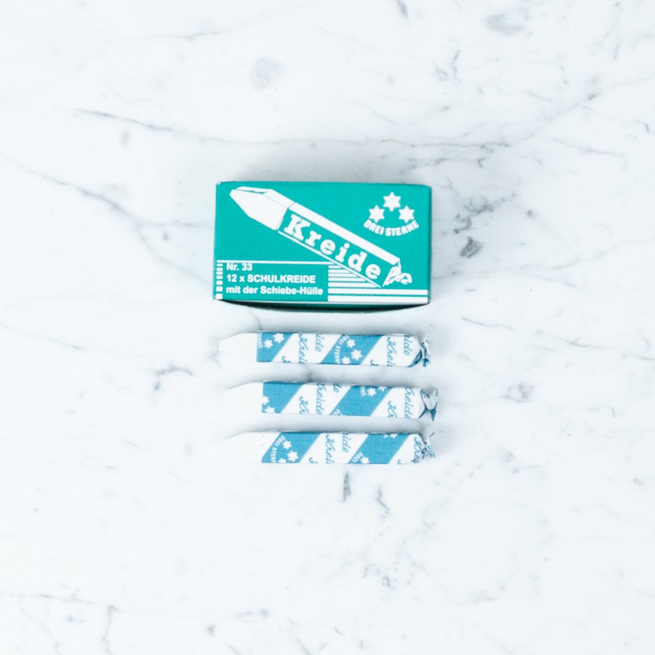 THREE STARS White School Chalk - Kreide - 12 Sticks In Box
