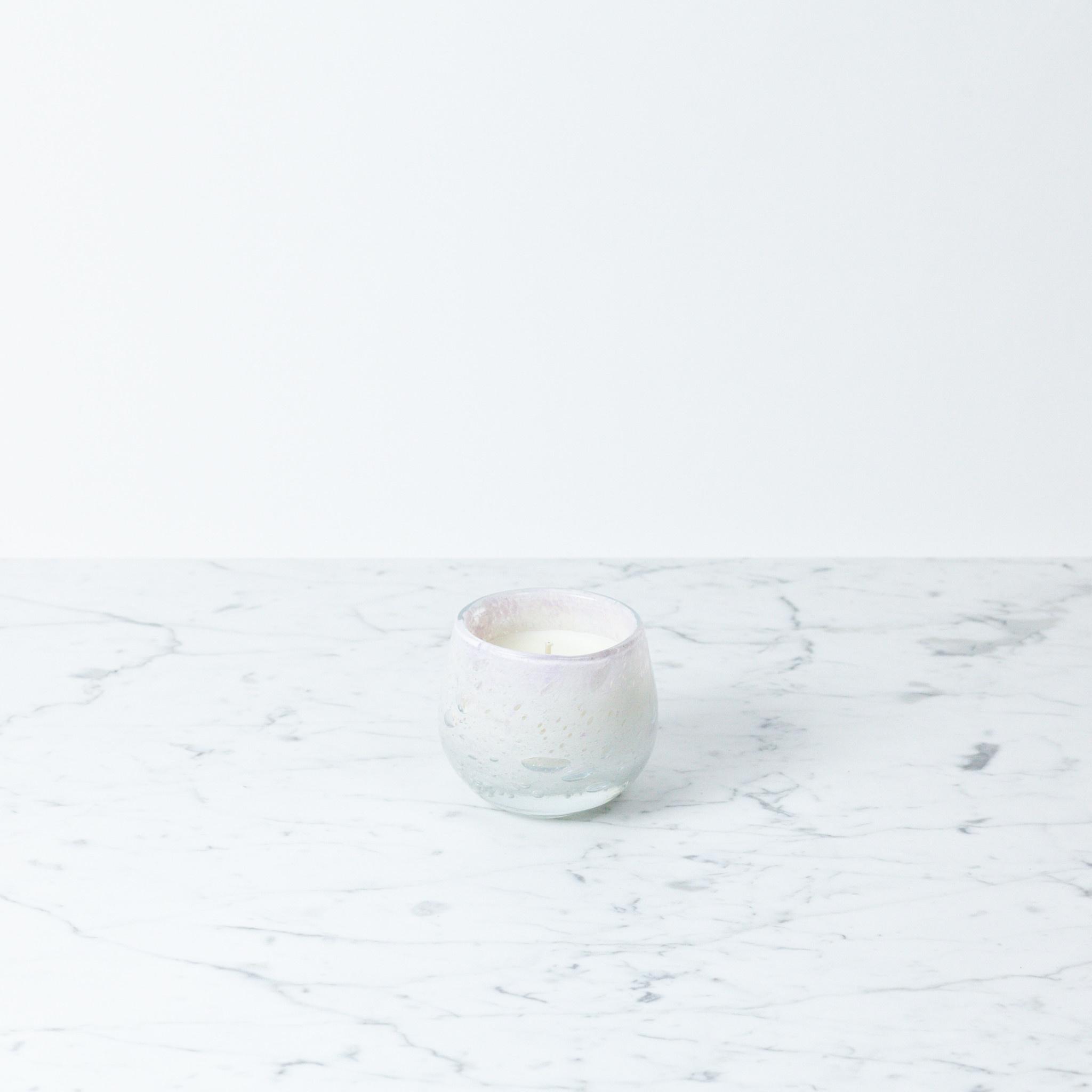 "Henry Dean Tiny Clovis Vessel with Candle - Rosebud Lavender Pink - 3 1/2"""