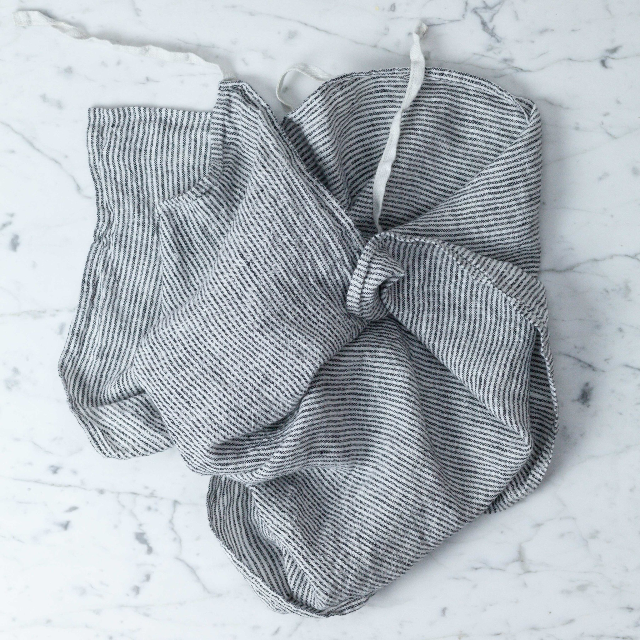 Washed French Linen Dish or Hand Towel with Hidden Apron Strings - Black + White Stripe- 22 x 30""