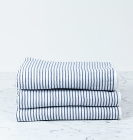 Shirt Stripe Compact Bath Towel - Navy Breton Stripe - 20 x 47