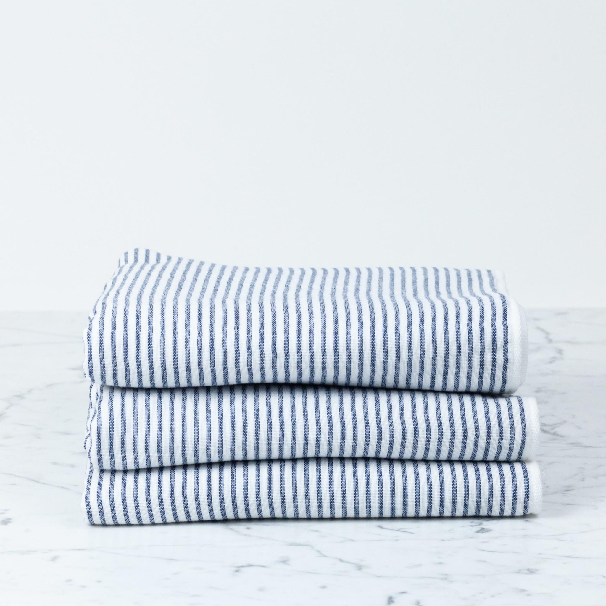 Shirt Stripe Compact Bath Towel - Navy Breton Stripe