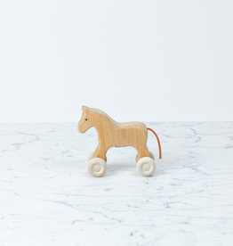 Grimm's Toys Wooden Little Horse on Wheels - Natural