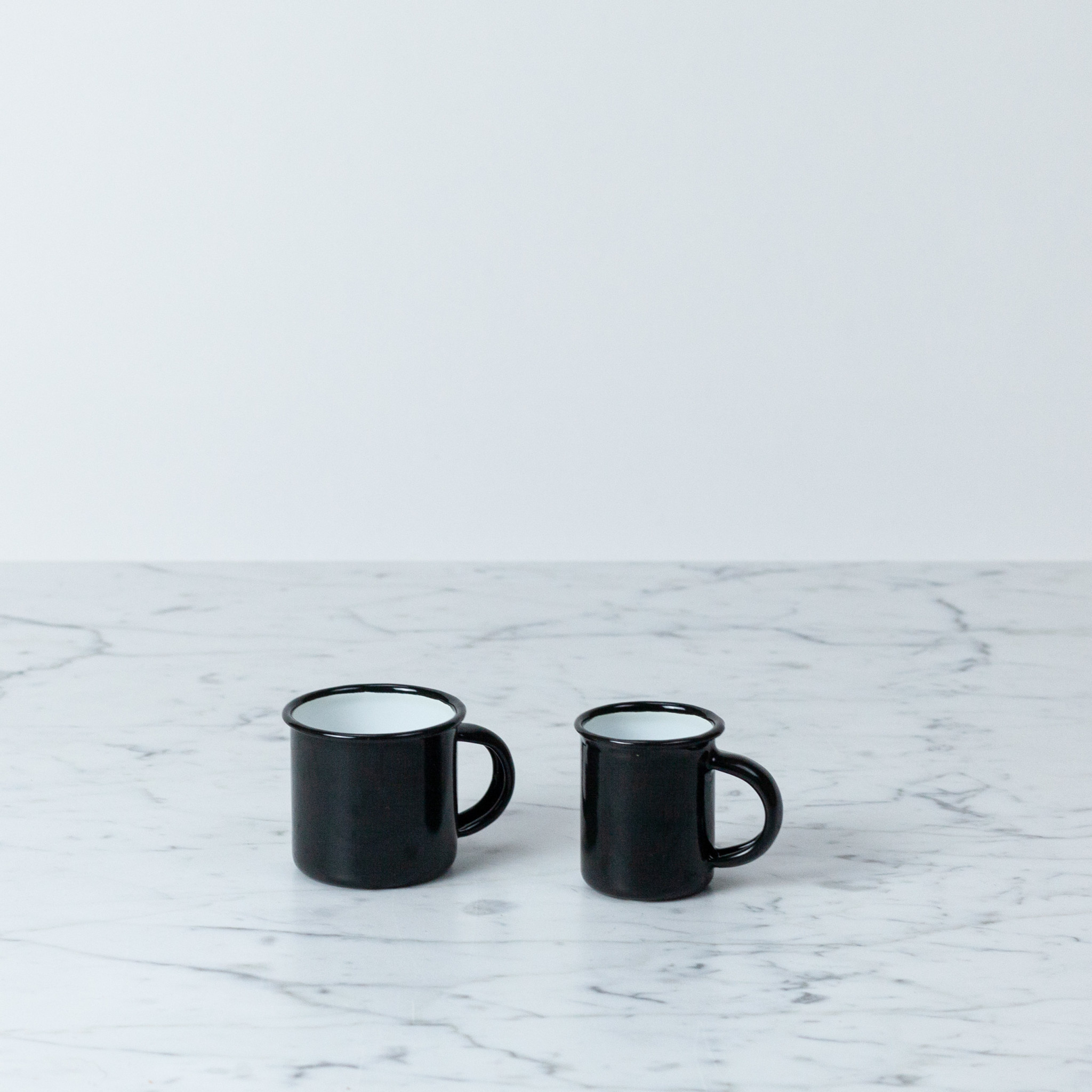 "Enamel Mug - White - Black - 1 1/2"""
