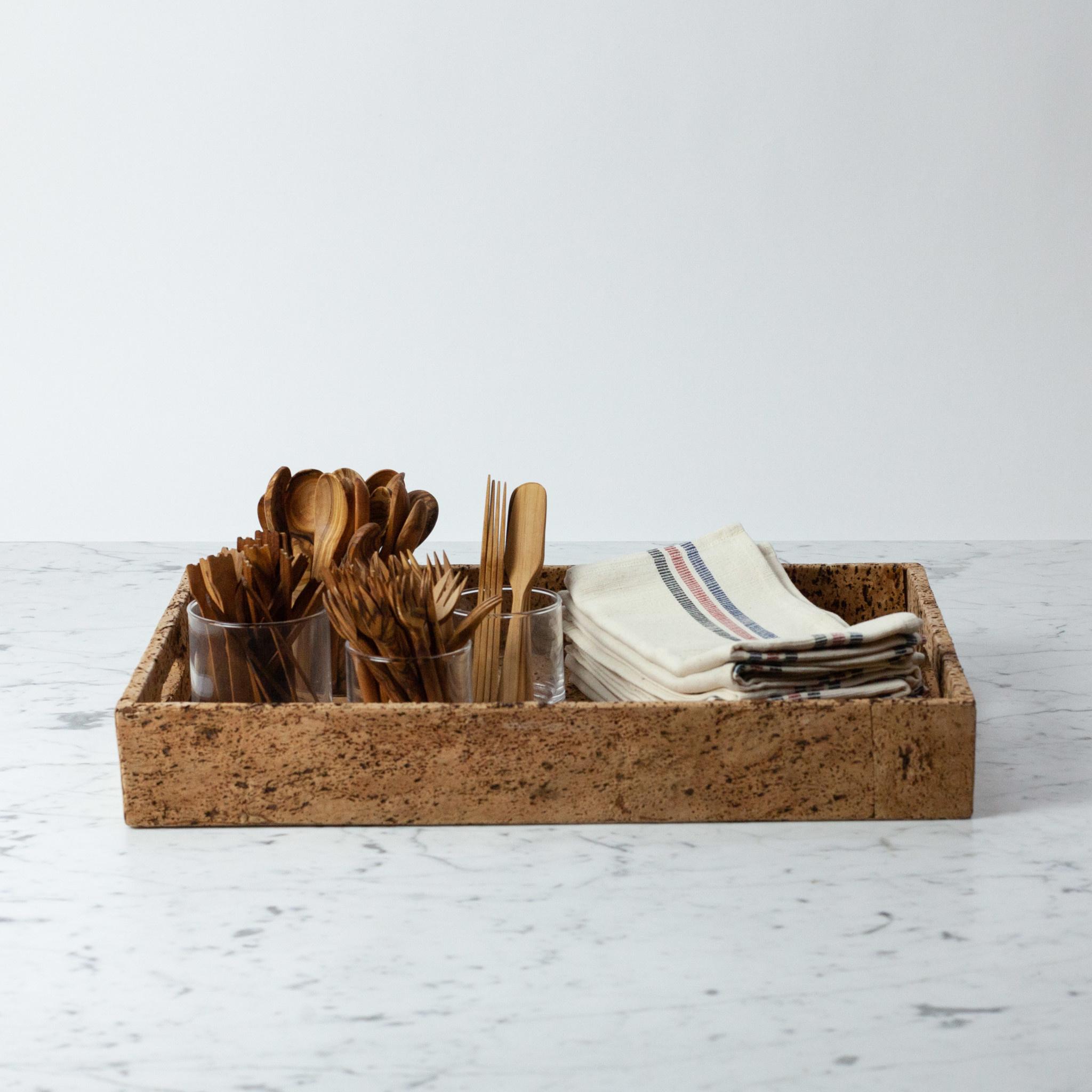 "BIDKhome / Serax Cork Rectangular Tray with Handles - Large - 12 x 18"""