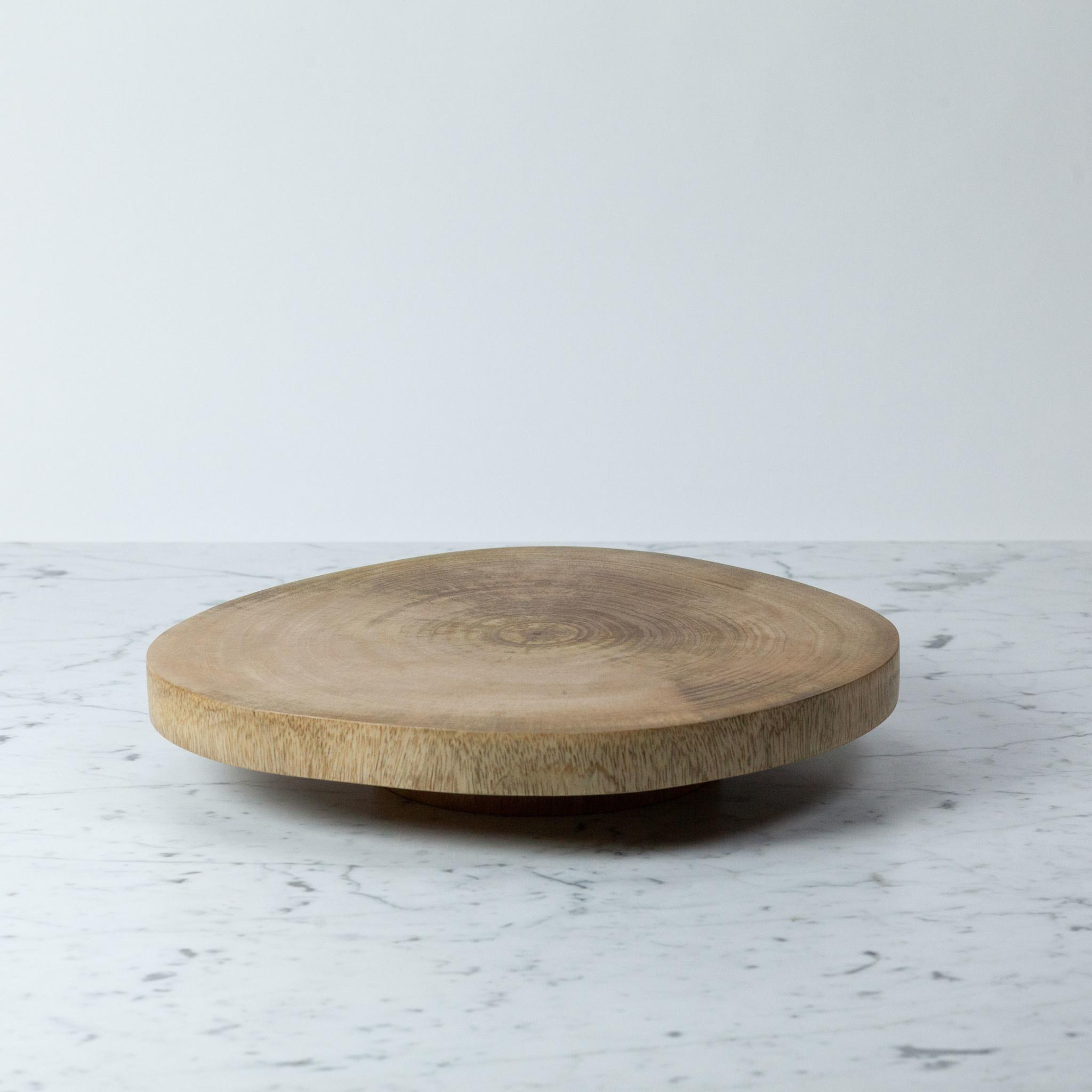 """Thick Natural Mango Wood Lazy Susan - 15"""""""