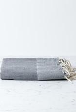 "The Fouta Spa Reversible Cotton Fouta Towel - Dark Grey Herringbone - 38 x 78"""
