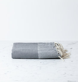 The Fouta Spa Reversible Cotton Fouta Towel - Dark Grey Herringbone - 38 x 78""