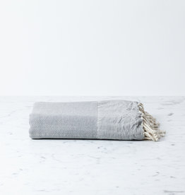Reversible Cotton Fouta Towel - Light Grey Herringbone - 38 x 78""