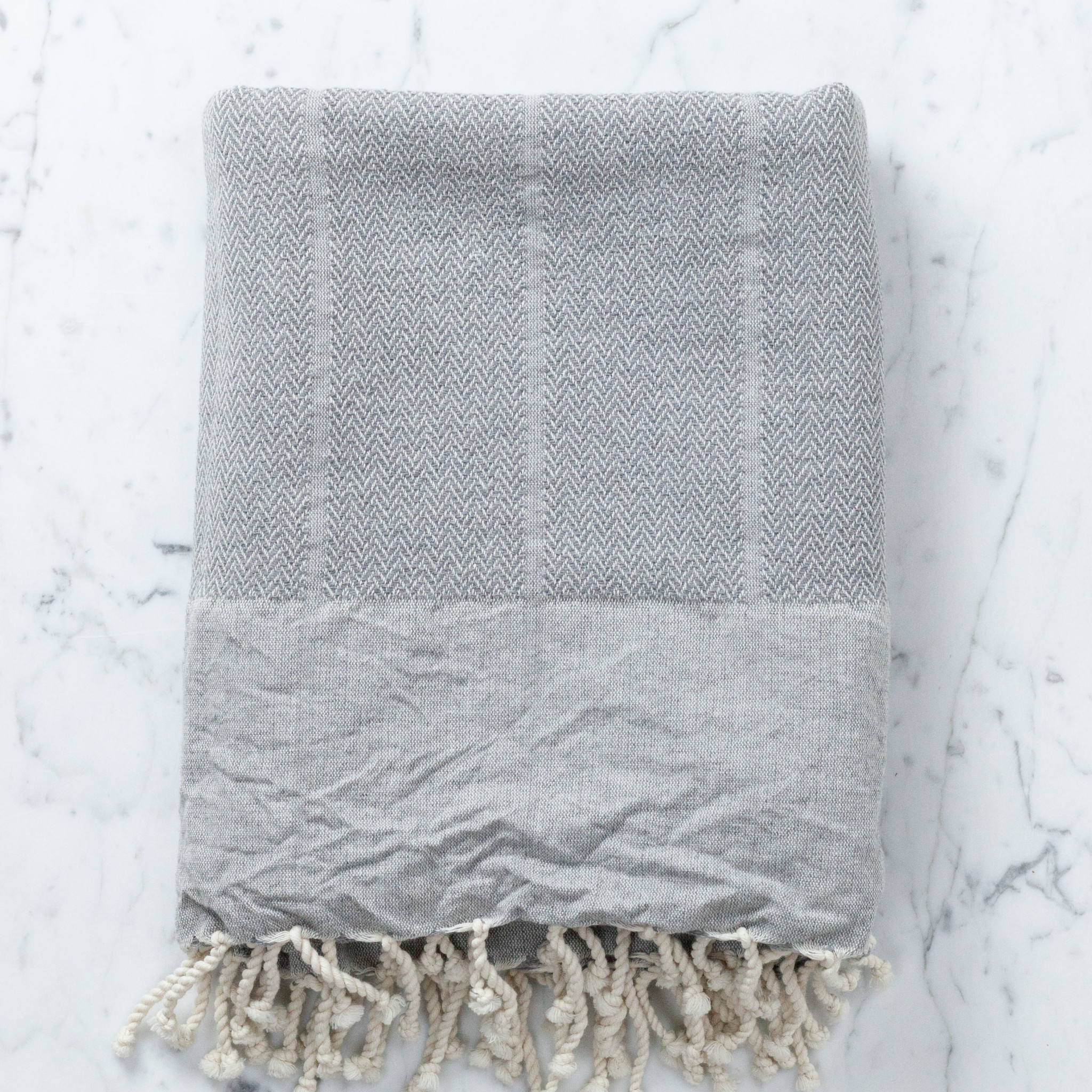 The Fouta Spa Reversible Cotton Fouta Towel - Light Grey Herringbone - 38 x 78""