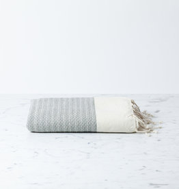 The Fouta Spa Reversible Cotton Fouta Towel - Cream + Grey Leyla Weave - 38 x 78""