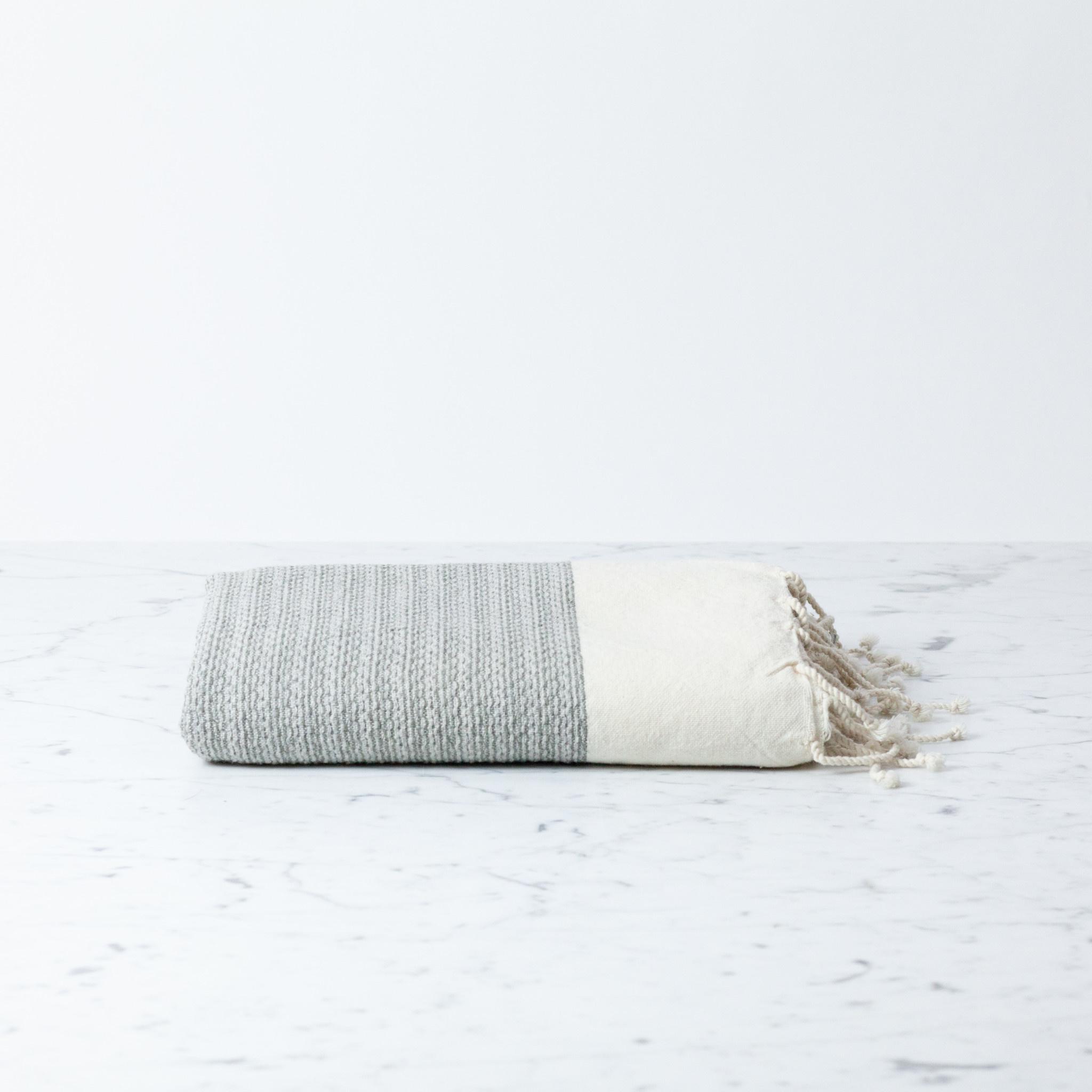 "The Fouta Spa Reversible Cotton Fouta Towel - Cream + Grey Leyla Weave - 38 x 78"""