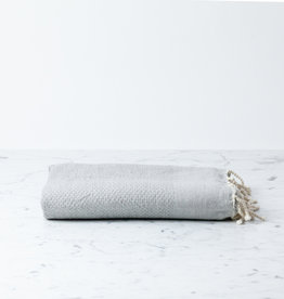 The Fouta Spa Reversible Cotton Fouta Towel - Solid Grey Leyla Weave - 38 x 78""