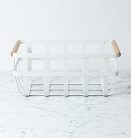 Yamazaki Home Tosca Textured Metal Storage Basket with Wood Handles - White - Medium - 14 x 9 x 6""
