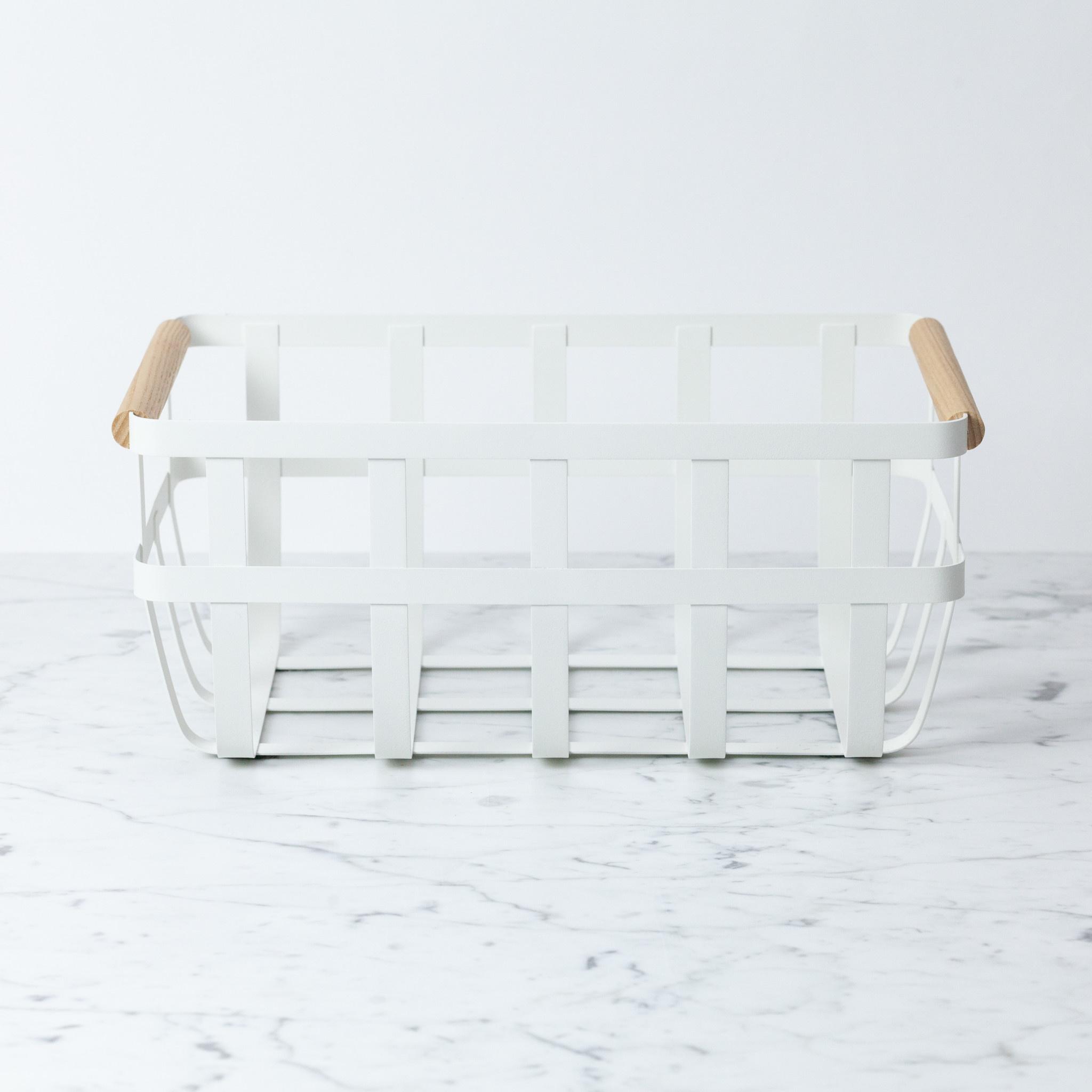 "Yamazaki Home Tosca Textured Metal Storage Basket with Wood Handles - White - Medium - 14 x 9 x 6"""