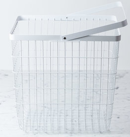 Yamazaki Home Tower Metal Storage Basket Hamper with Single Handle - Large - White - 15 x 15 x 11""