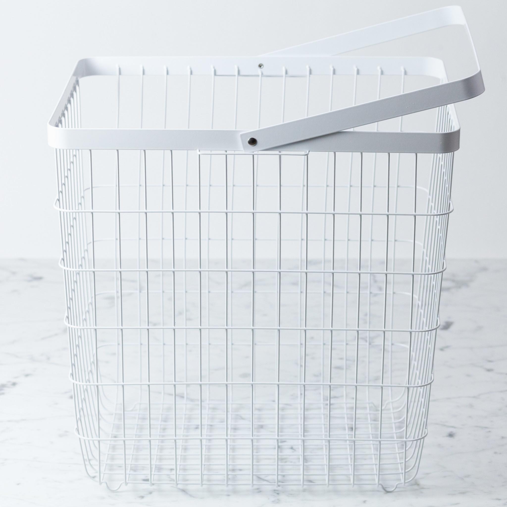 "Yamazaki Home Tower Metal Storage Basket Hamper with Single Handle - Large - White - 15 x 15 x 11"""