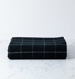 "Merino Wool Check Throw Blanket - Black - 55"" x 70"""