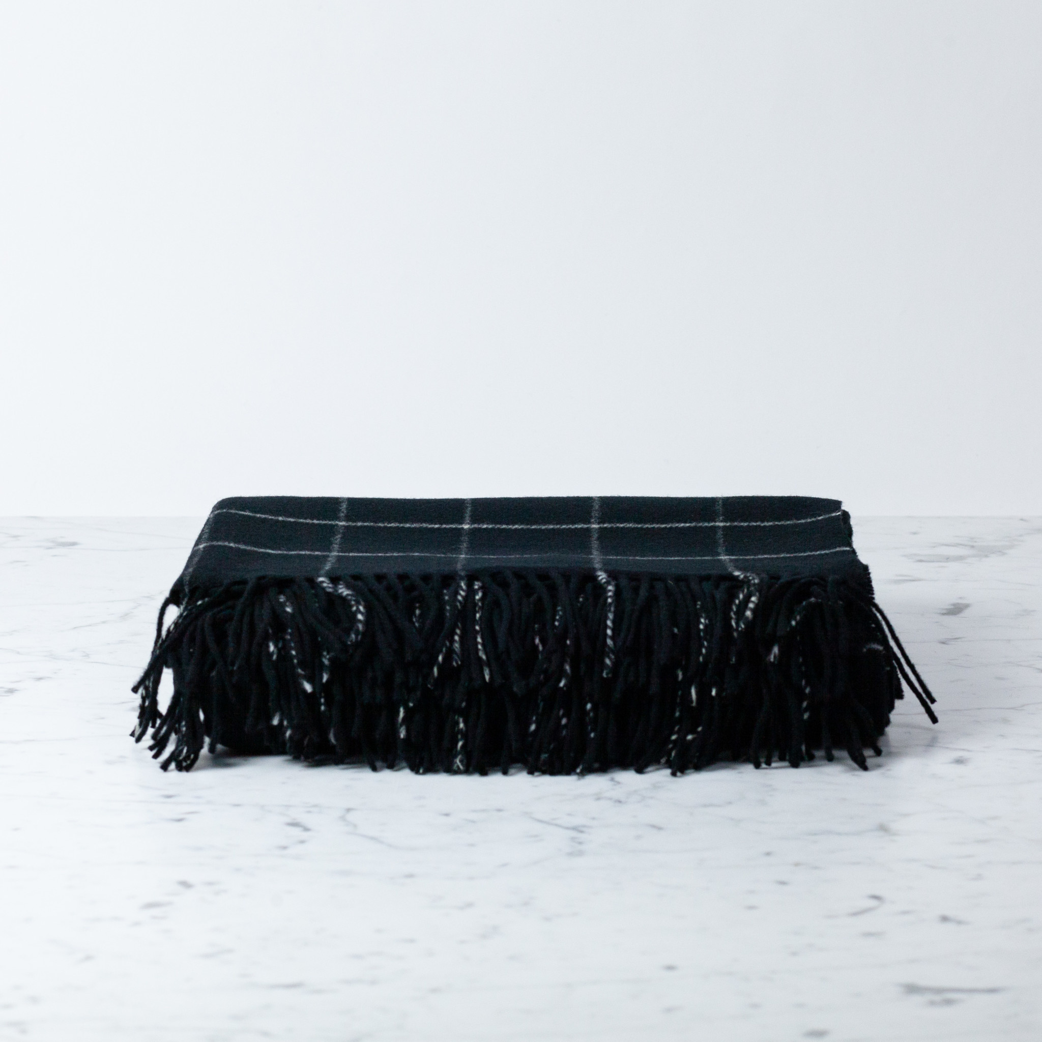 "Merino Wool Check Throw Blanket - Black - 55"" x 70"""