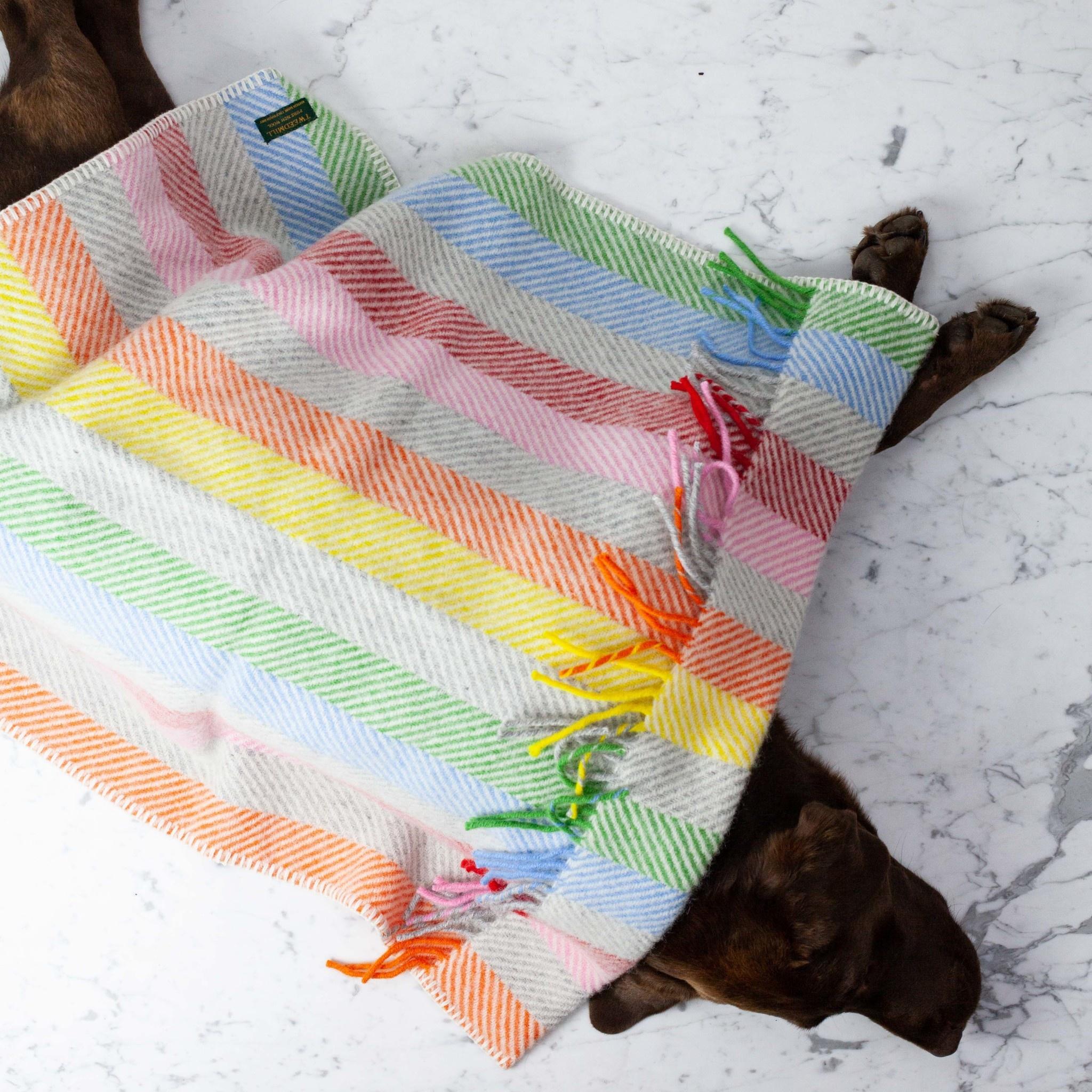 Wool Rainbow Strip Baby Pram Blanket