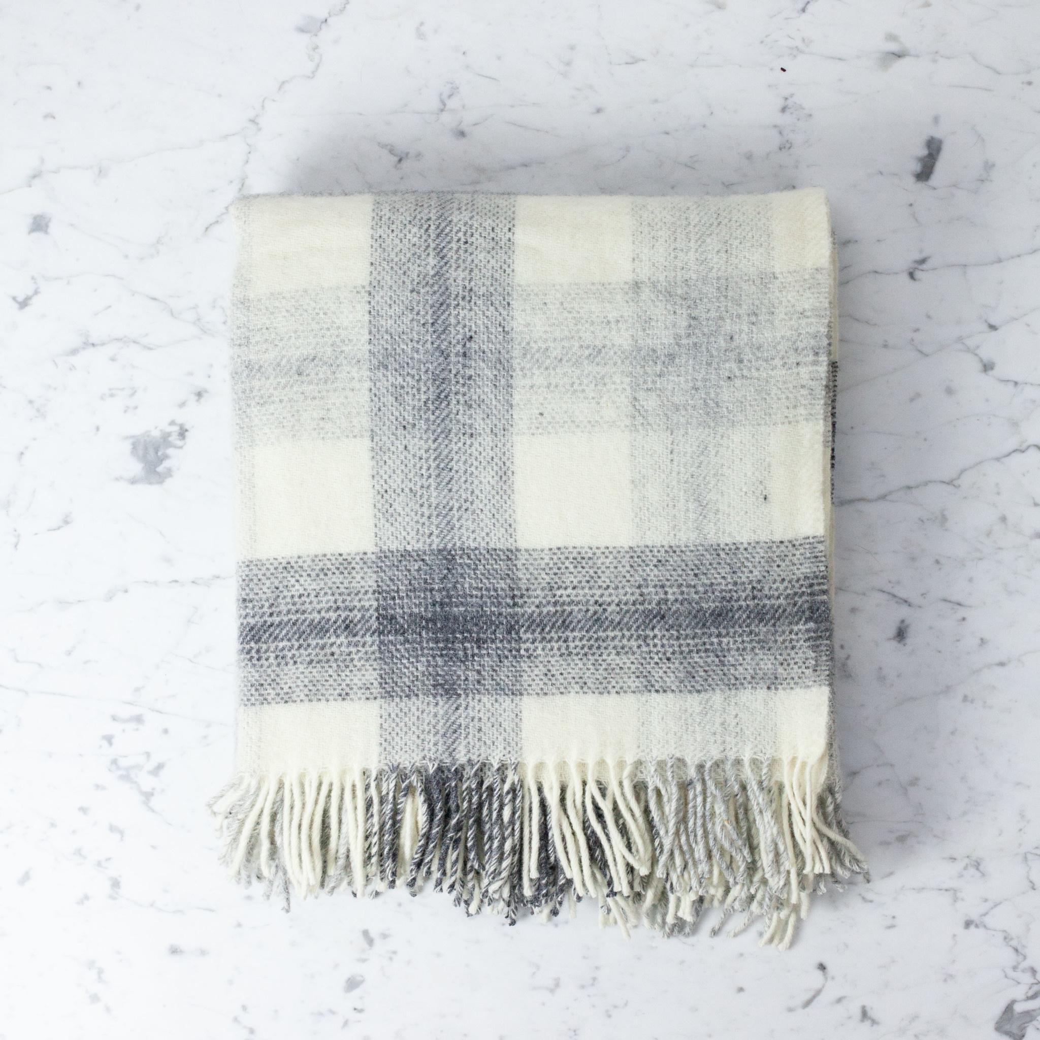 """Wool Meadow Throw - Slate and Cream - 60 x 72"""""""