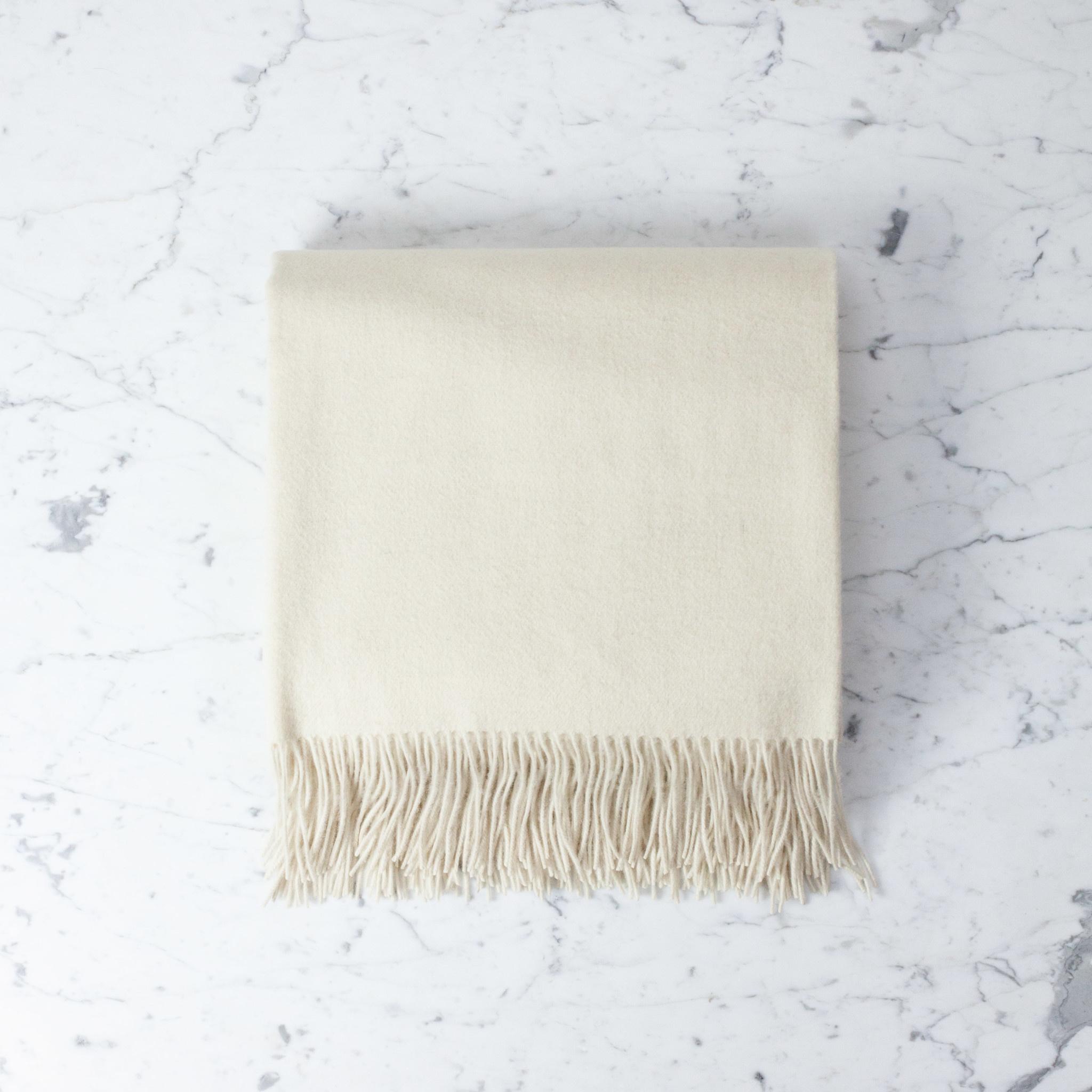 "Pure Lambswool Throw - Cream - 55 x 75"""