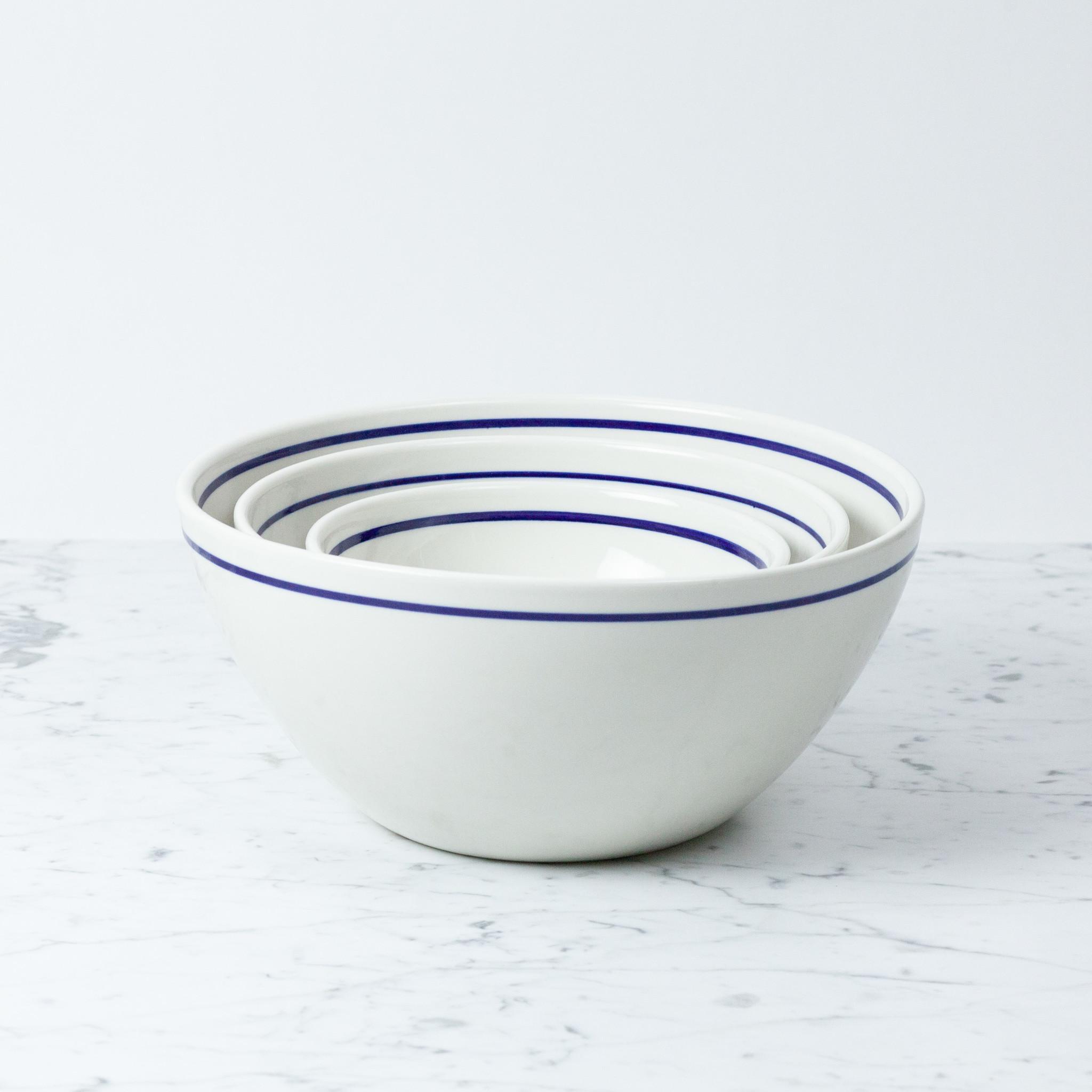 "John Julian John Julian Porcelain Serving Bowls with Blue Line - Large - 12"""