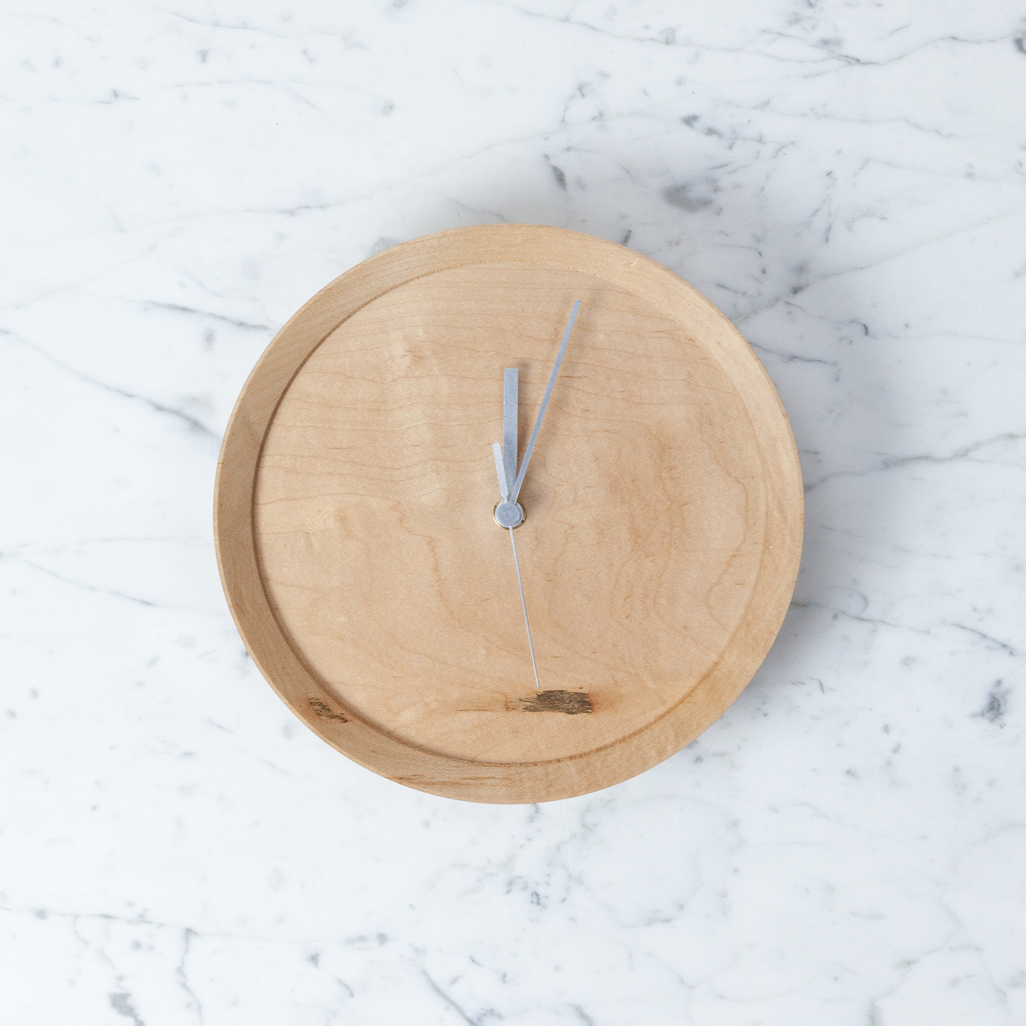 Wormy Wood Recycled Maple Clock - Round - 8.25""