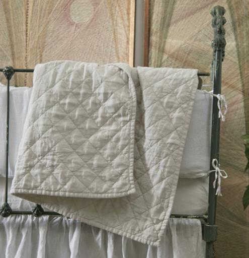 "Ida Vintage Linen Baby Comforter - Blush - 36"" x 50"""