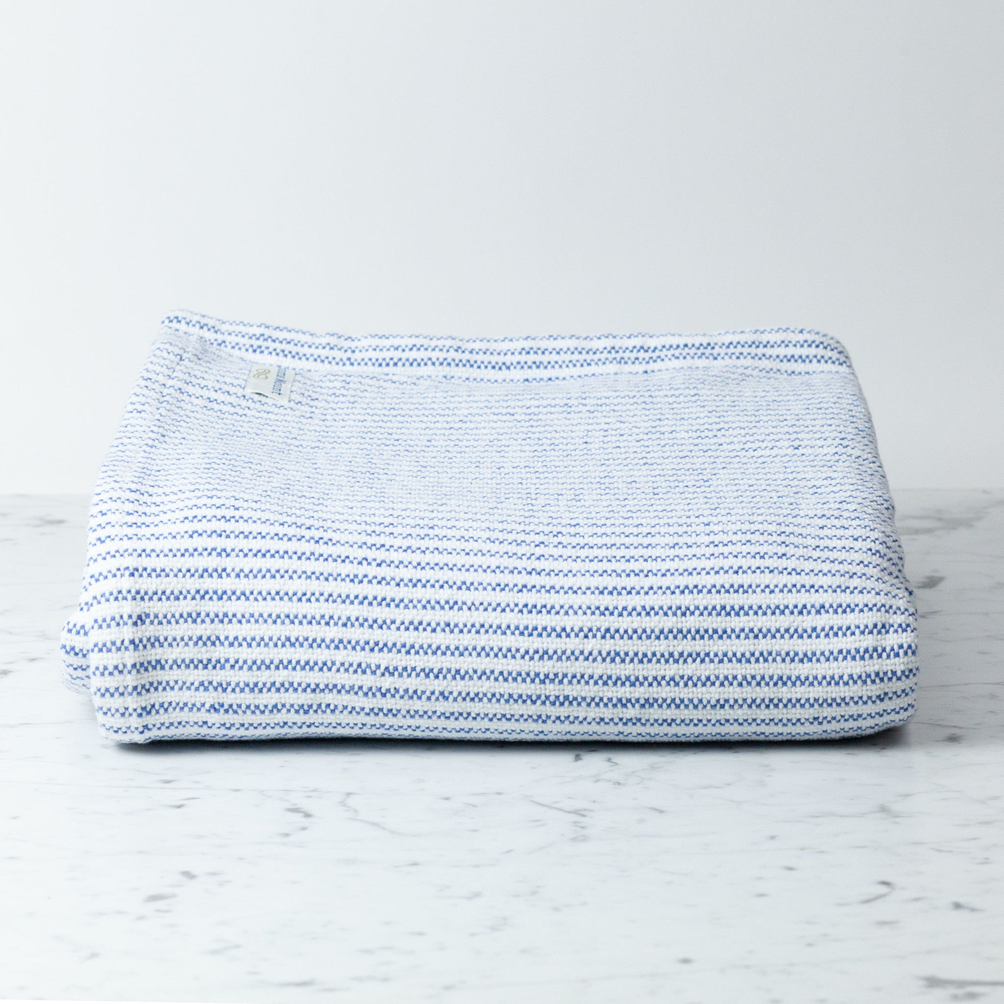 Brahms Mount Winslow Cotton Queen Blanket - Baja Blue + White - 90 x 90""