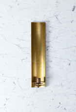 Brass Channel Slim Candle Sconce - 14.5""