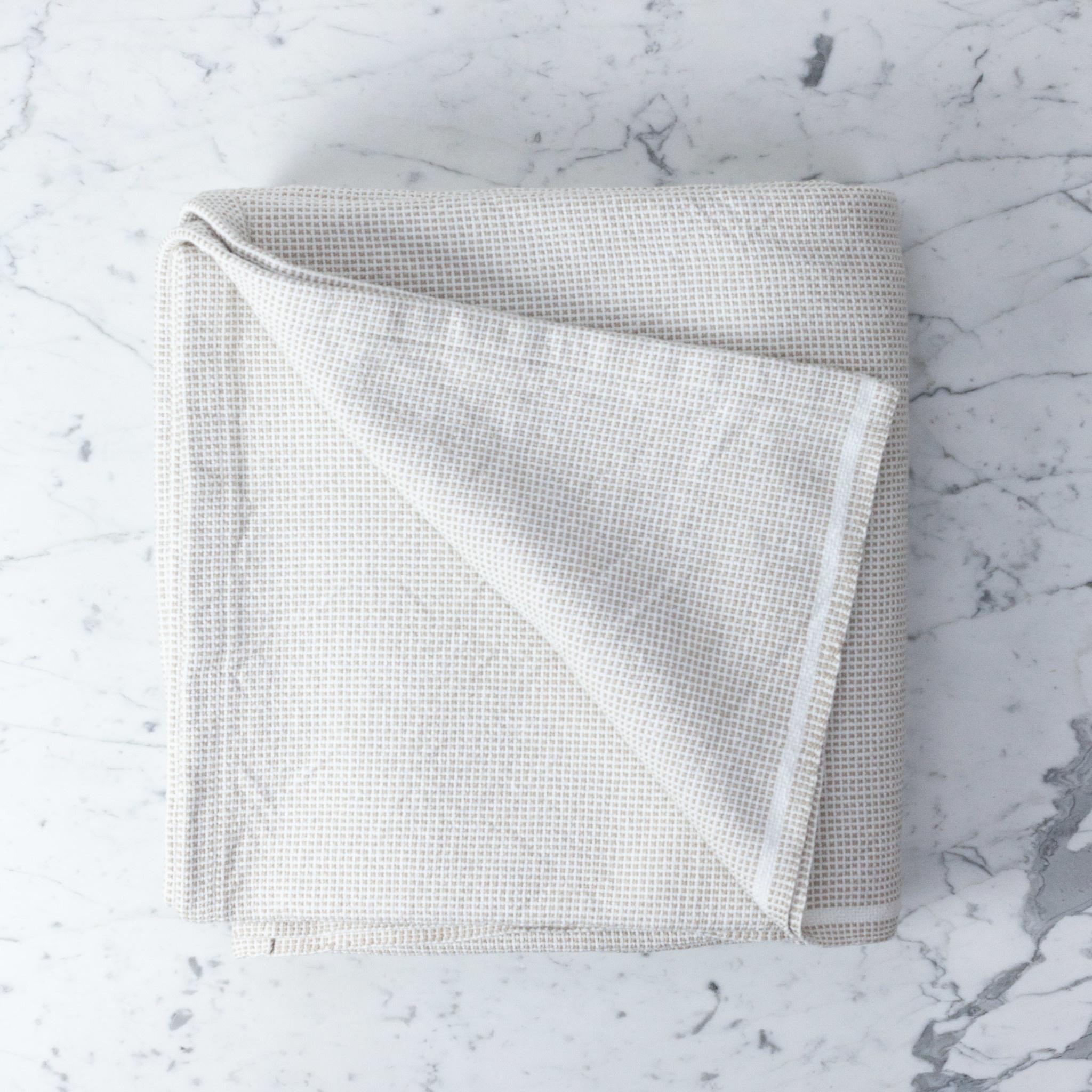 """Brahms Mount Thorndike Cotton Blanket - Queen - Flax - 90 x 90"""""""