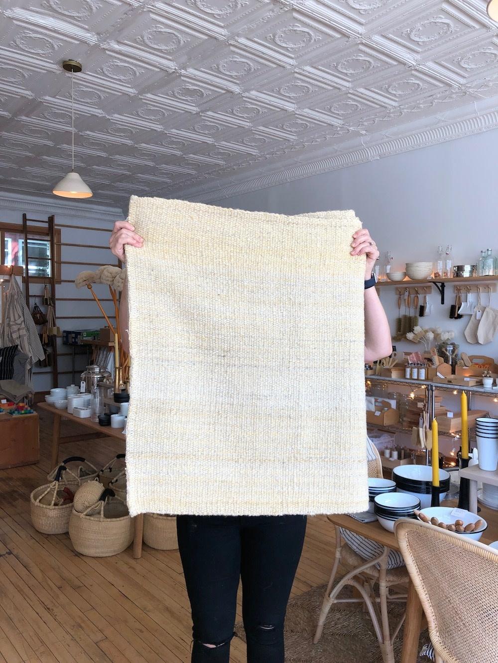 "Elementos Argentinos Handwoven Sheep Wool Rug - Natural White  - 60 x 95"""
