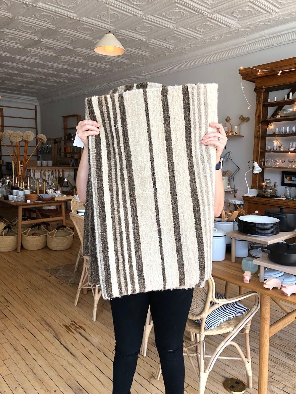 "Elementos Argentinos Handwoven Sheep Wool Rug - Stripes - 55 x 73"""