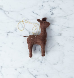 Hand Felted Gentle Spotted Deer Fawn Ornament - Brown