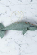Hand Felted Grey Spyhop Whale Ornament