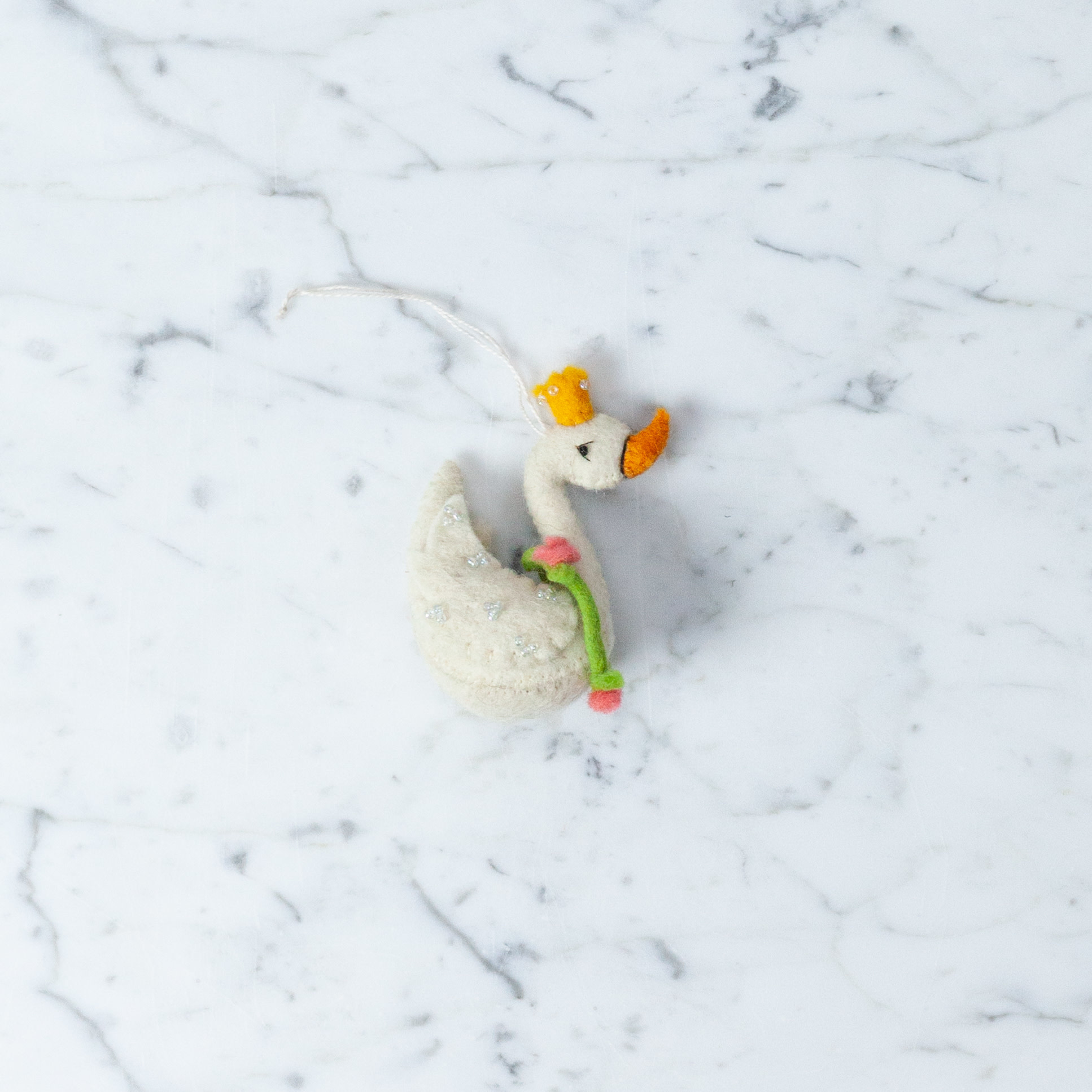 Hand Felted Fancy Swan Queen Ornament