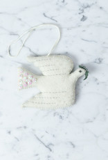 Hand Felted Peace on Earth Dove Ornament