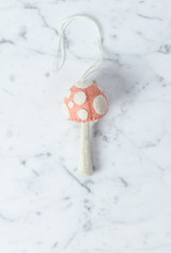 Hand Felted Pink Mushroom Ornament - Small
