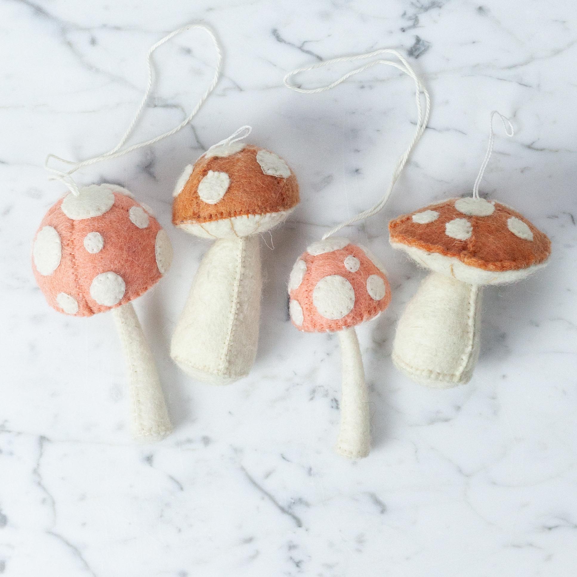 Hand Felted Orange Mushroom Ornament - Tall