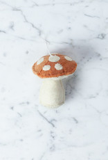 Hand Felted Orange Mushroom Ornament - Short