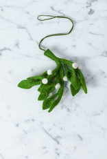 Hand Felted Mistletoe Bundle Ornament - Small