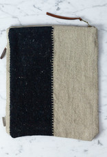 Libeco Home Belgian Linen + Wool Zipper Pouch - Black Stripe - 9 x 11""