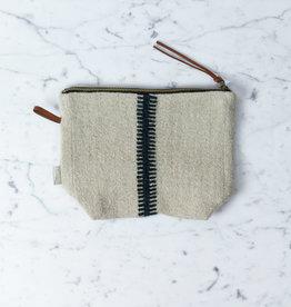 """Libeco Home Belgian Linen + Wool Zipper Pouch - Skinny Ladder Stripe - 9 x 6"""""""