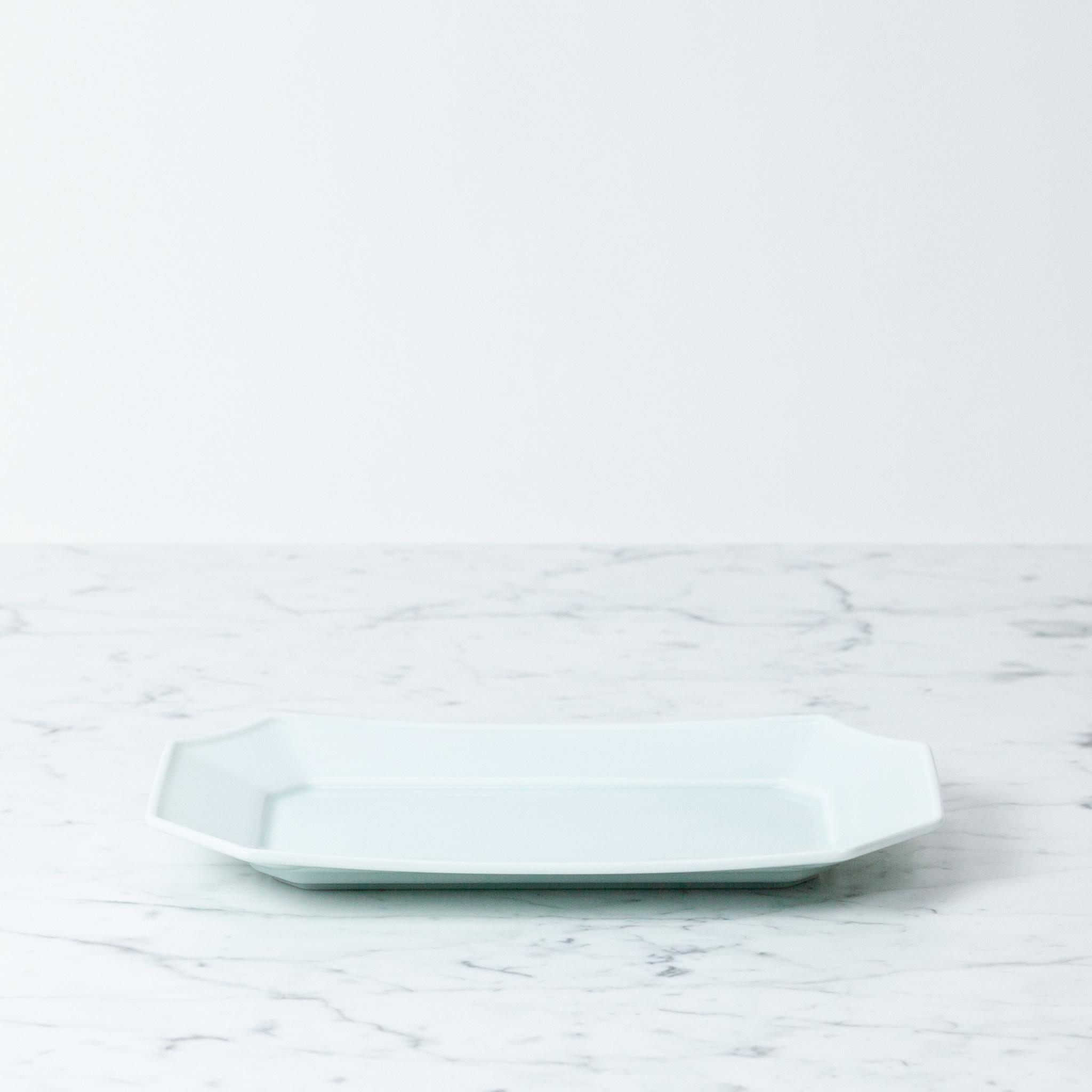 "MIZU MIZU mizu-mizu Long Porcelain Dish - Bluish White - 5.5 x 9.5"""