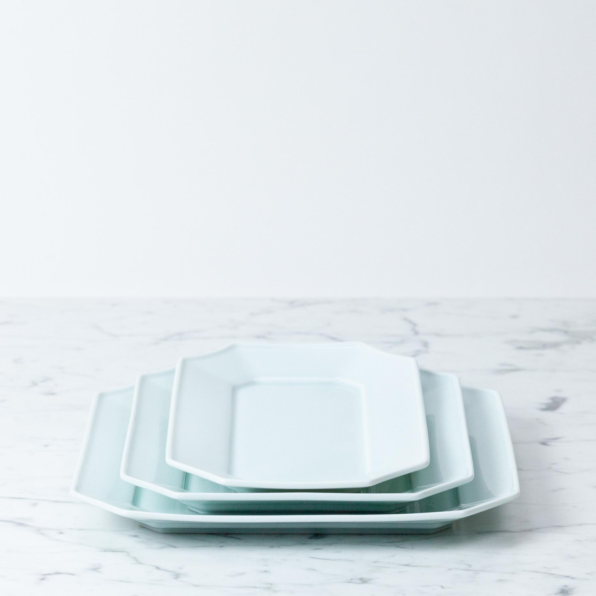 "MIZU MIZU PREORDER mizu-mizu Long Porcelain Dish - Bluish White - 5.5 x 9.5"""