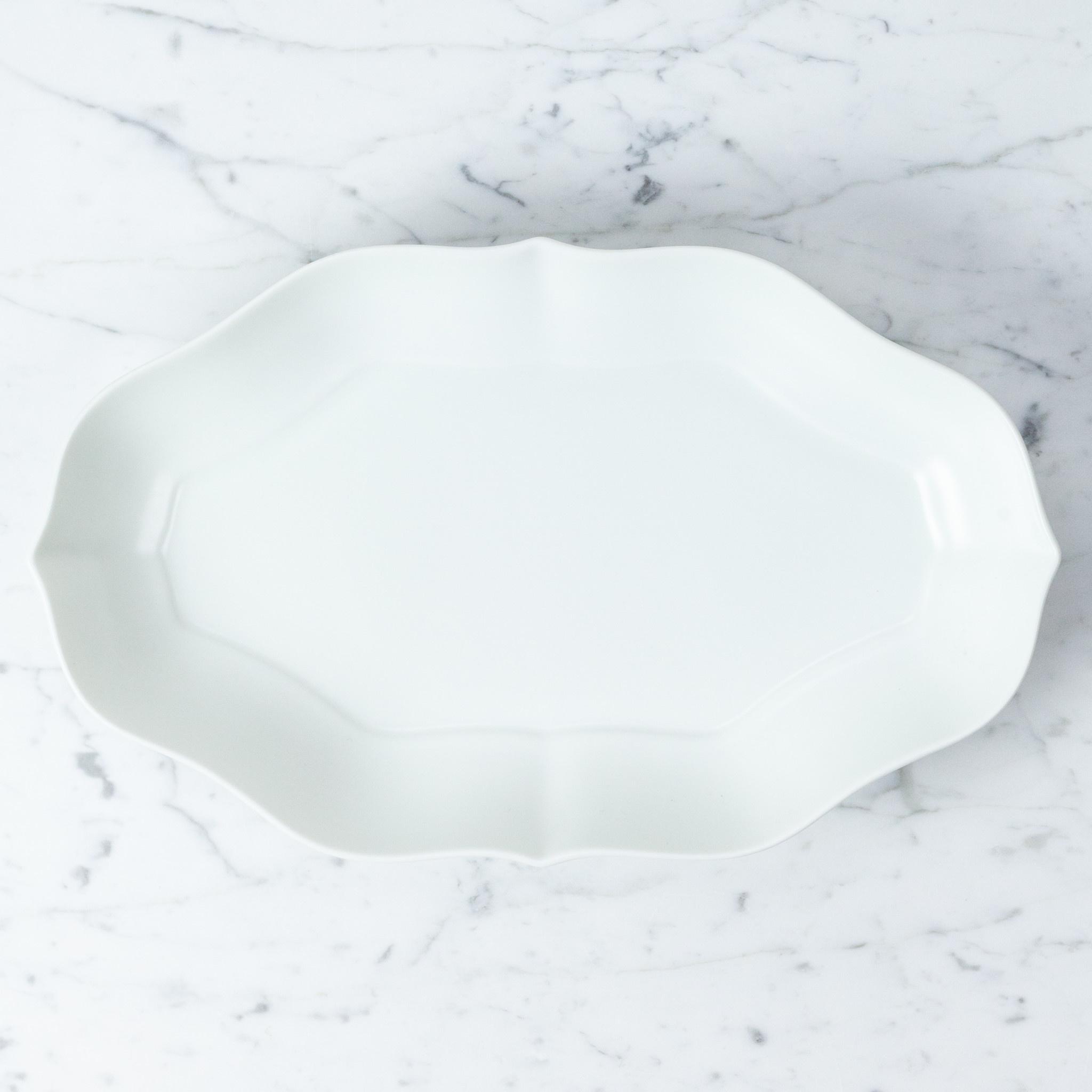 """PREORDER mizu-mizu Long Porcelain Flower Bowl - Matte Finish - Bluish White - 13"""""""